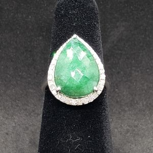 Jewelry - Emerald and Diamond Sterling Silver Ring